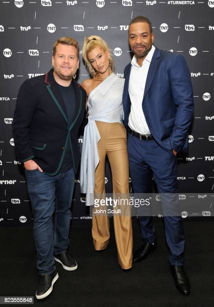 Executive producer James Corden hosts Hailey Baldwin and Method Man 'Drop the Mic' at the TCA Turner Summer Press Tour 2017 Green Room at The Beverly...