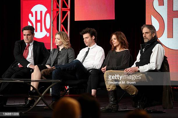 Executive Producer James Flynn, Holliday Granger, Francois Arnaud, Joanne Whalley and Jeremy Irons of the television show 'The Borgias' speak during...