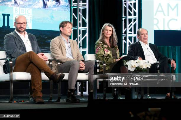 Executive producer James Honeyborne series producer Mark Brownlow producer Orla Doherty and composer Hans Zimmer of 'Planet Earth Blue Planet II'...