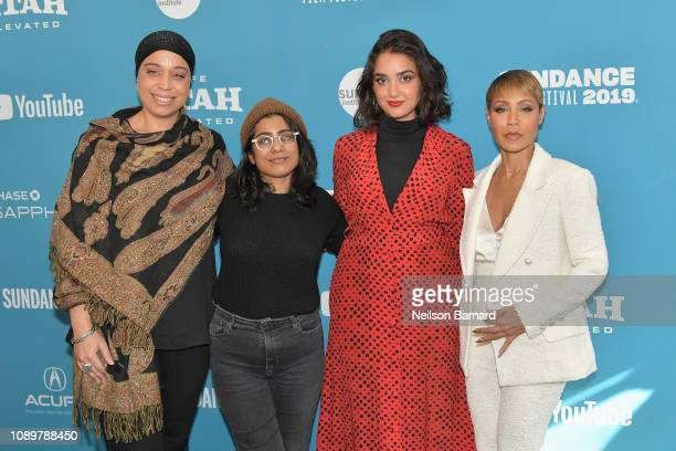 "Executive Producer Jana Babatunde-Bey, director Minhal Baig, actor Geraldine Viswanathan and Executive Producer Jada Pinkett Smith attend the ""Hala""..."