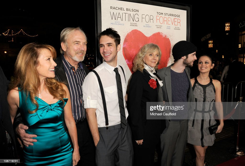 Executive Producer Jane Seymour, Director James Keach, actor Scott Mechlowicz, actress Blythe Danner, actor Tom Sturridge and actress Rachel Bilson arrive at the Los Angeles Premiere of 'Waiting For Forever' held at the Pacific Theatres at The Grove on February 1, 2011 in Los Angeles, California.