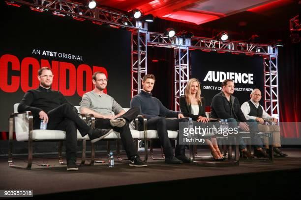 Executive producer Jason Smilovic coexecutive producer Todd Katzberg actors Max Irons Mira Sorvino Brendan Fraser and Bob Balaban of the television...