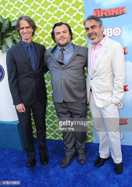 Executive Producer Jay Roach actor Jack Black and executive producer Roberto Benabib arrive at the Premiere of HBO's 'The Brink' at the Paramount...