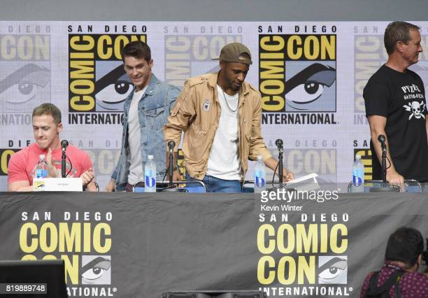 Executive producer Jeff Davis actors Cody Christian Khylin Rhambo and Linden Ashby speak onstage at the 'Teen Wolf' panel during ComicCon...