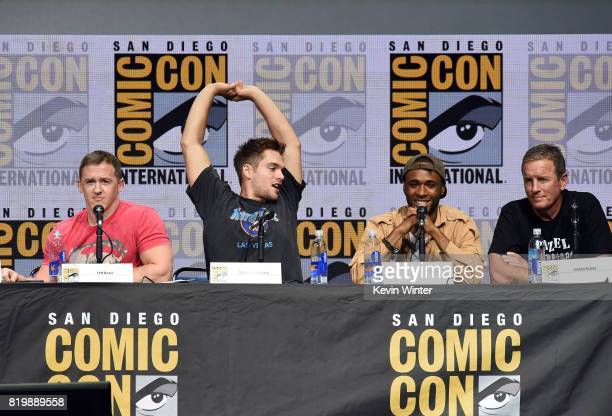 Executive producer Jeff Davis actors Dylan Sprayberry Khylin Rhambo and Linden Ashby speak onstage at the 'Teen Wolf' panel during ComicCon...