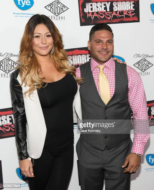 Executive Producer Jenni 'JWOWW' Farley and Ronnie OrtizMagro attends the 'Jersey Shore Massacre' New York Premiere at AMC Lincoln Square Theater on...