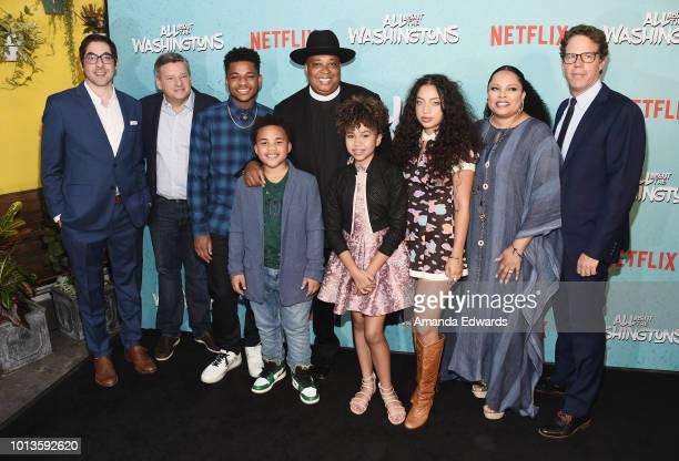 Executive producer Jeremy Bronson Netflix Chief Content Officer Ted Sarandos actors Nathan Anderson Maceo Smedley Rev Run Leah Rose Randall Kiana...