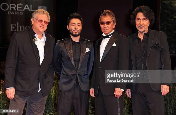 Executive Producer Jeremy Thomas actor Takayuki Yamada director Takashi Miike and actor Koji Yakusho attends the '13 Assassins' Premiere during the...