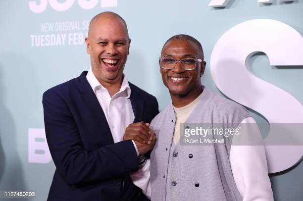 Executive Producer Jesse Collins and Actor Tommy Davidson attend BET's 'American Soul' Red Carpet at Wolf Theatre on February 04 2019 in North...