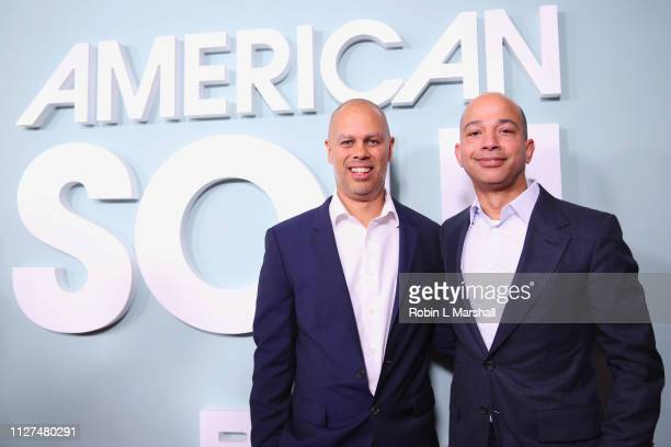 Executive Producer Jesse Collins and President of BET Networks Scott Mills attend BET's 'American Soul' Red Carpet at Wolf Theatre on February 04...