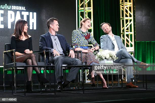 Executive producer Jessica Goldberg actors Hugh Dancy Michelle Monaghan and Aaron Paul of Hulu's Original Series 'The Path' speak onstage during...