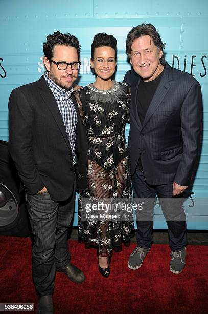 Executive producer JJ Abrams actress Carla Gugino and executive producer/director Cameron Crowe attend the premiere for Showtime's Roadies at The...