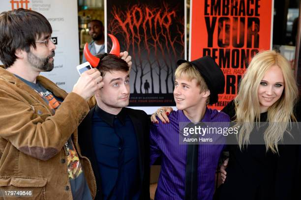 "Executive Producer Joe Hill, Actors Daniel Radcliffe, Mitchell Kummen and Juno Temple arrive at the ""Horns"" premiere during the 2013 Toronto..."