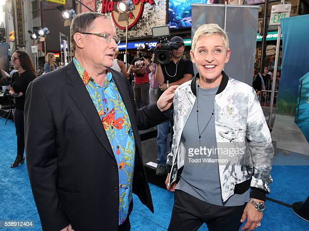 Executive producer John Lasseter and actress Ellen DeGeneres attend the world premiere of DisneyPixar's 'Finding Dory' at the El Capitan Theatre on...