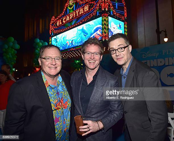 Executive producer John Lasseter Director/screenwriter Andrew Stanton and CoDirector Angus MacLane attend The World Premiere of DisneyPixar's FINDING...