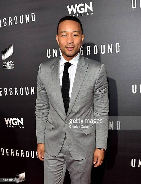 Executive producer John Legend attends WGN America's 'Underground' World Premiere on March 2 2016 in Los Angeles California