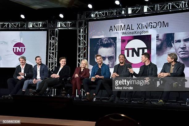Executive producer John Wells, actors Jake Weary, Finn Cole, Ellen Barkin, Scott Speedman, Ben Robson, Shawn Hatosy and executive producer Jonathan...
