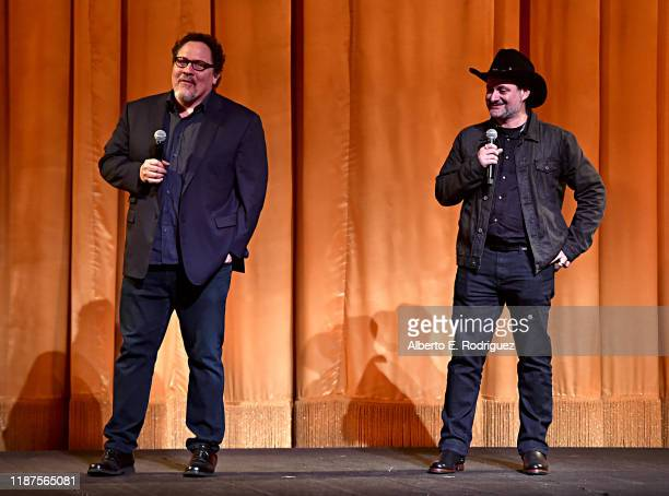 Executive Producer Jon Favreau and Executive Producer/Director Dave Filoni speak onstage at the premiere of Lucasfilm's first-ever, live-action...