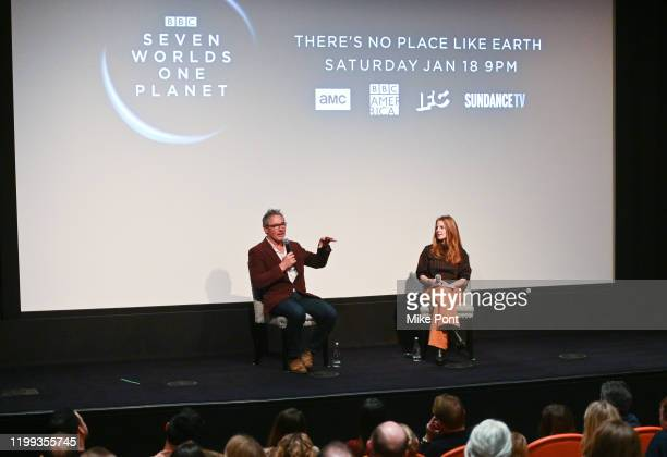 Executive Producer Jonny Keeling and moderator Marisa Guthrie talk during the Seven Worlds One Planet Screening at Crosby Hotel on January 13 2020 in...