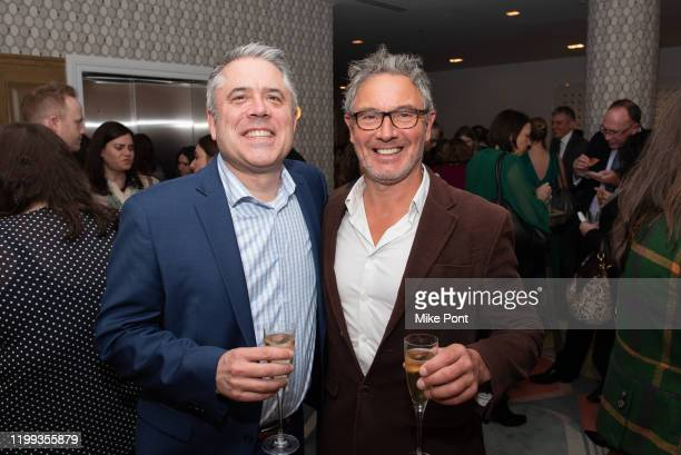 Executive Producer Jonny Keeling meets with a guest during the Seven Worlds One Planet Screening at Crosby Hotel on January 13 2020 in New York City