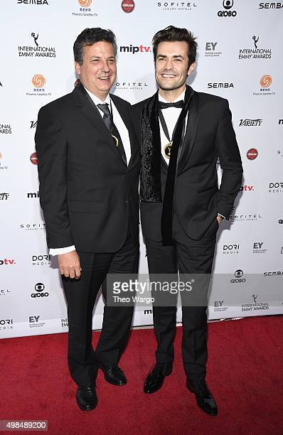 """Executive Producer Jorge Queiroga, and Actor Albano Jeronimo, Actor of """"Mulheres"""" attend 43rd International Emmy Awards at New York Hilton on..."""