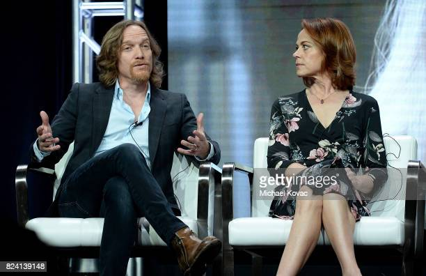 Executive producer Joseph Freed and actor Deirdre Lovejoy of 'I Am Elizabeth Smart' speak onstage during the A+E Networks portion of the 2017 Summer...
