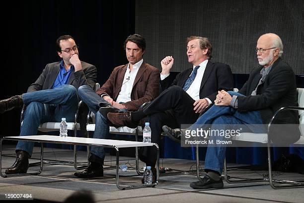 Executive Producer Jules Naudet, Executive Producer Gedeon Naudet, Executive Producer Chris Whipple, and Producer David Hume Kennerly speak onstage...