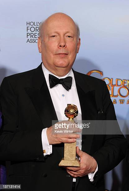 Executive producer Julian Fellowes poses in the press room with the Best MiniSeries or Motion Picture Made for Television for 'Downton Abbey' at the...