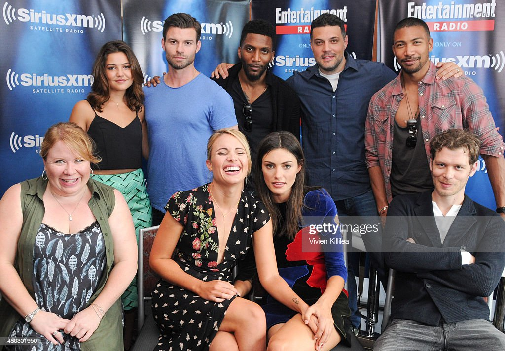 Executive producer Julie Plec, actors Danielle Campbell, Daniel Gillies, Leah Pipes, Phoebe Tonkin and Yusuf Gatewood, executive producer Michael Narducci and actors Charles Michael Davis and Joseph Morgan attends SiriusXM's Entertainment Weekly Radio Channel Broadcasts From Comic-Con 2015 at Hard Rock Hotel San Diego on July 10, 2015 in San Diego, California.