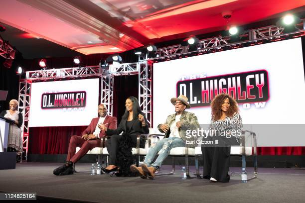 Executive Producer Keith Neal actor Tasha Smith actor/comedian DL Hughley and CoHost Jasmine Sanders speak onstage at the TCA TV One/CLEO TV...