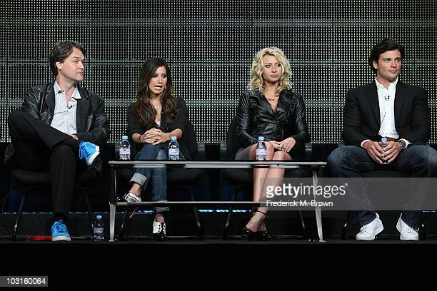 """Executive Producer Kevin Murphy, actresses Ashley Tisdale and Aly Michalka and Executive Producer Tom Welling speak onstage during the """"Hellcats""""..."""