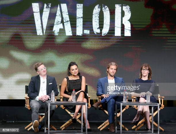 Executive producer Kyle Jarrow actors Christina Ochoa and Matt Barr and executive producer Anna Fricke of 'Valor' speak onstage during the CW portion...