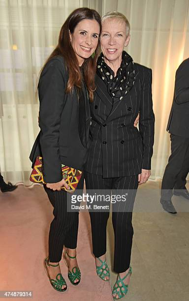 Executive Producer Livia Firth and Annie Lennox attend the London premiere of 'The True Cost' at the Curzon Bloomsbury on May 27 2015 in London...