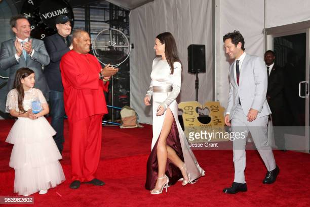 Executive Producer Louis D'Esposito actor Abby Ryder Fortson Producer Kevin Feige and actors Laurence Fishburne Evangeline Lilly and Paul Rudd attend...