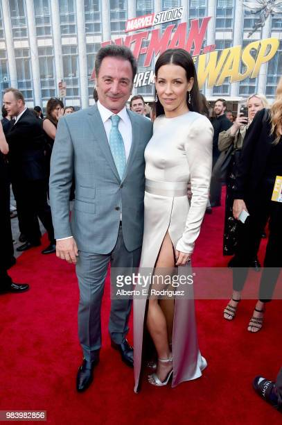 Executive producer Louis D'Esposito and actor Evangeline Lilly attend the Los Angeles Global Premiere for Marvel Studios' 'AntMan And The Wasp' at...