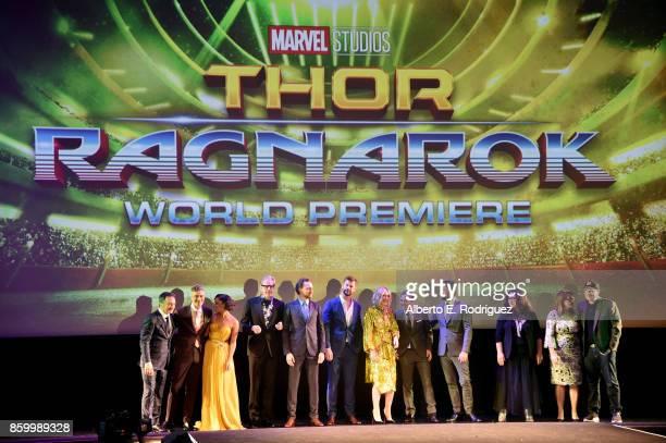 Executive producer Louis D'Esposito, Director Taika Waititi, actors Tessa Thompson, Jeff Goldblum, Tom Hiddleston, Chris Hemsworth, Cate Blanchett,...