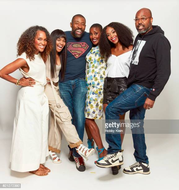 Executive producer Mara Brock Akil actors China Anne McClain Cress Williams Chistine Adams Nafessa Williams and executive producer Salim Akil from...