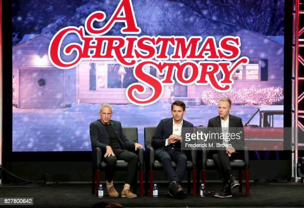 Executive Producer Marc Platt and composers Benj Pasek and Justin Paul of 'A Christmas Story' speak onstage during the FOX portion of the 2017 Summer...