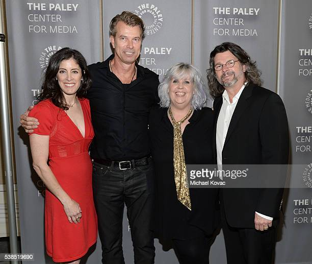 Executive producer Maril Davis, production designer Jon Gary Steele, costume designer Terry Dresbach, and executive producer Ronald D. Moore attend...