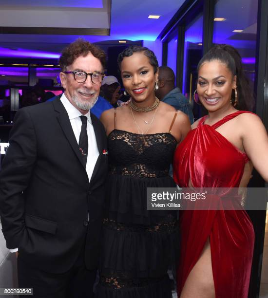Executive producer Mark Canton and actresses LeToya Luckett and La La Anthony attend STARZ 'Power' Season 4 LA Screening And Party at The London West...