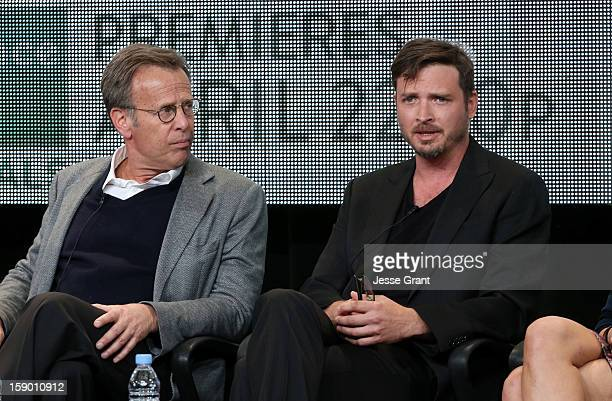 Executive producer Mark Johnson and actor AdenYoung attend the Sundance Channel 2013 Winter TCA Panel at The Langham Huntington Hotel and Spa on...