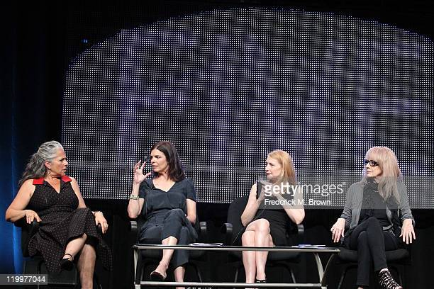 Executive Producer Marta Kauffman actresses Jeanne Tripplehorn and Patricia Clarkson and director Penelope Spheeris speak during the 'Five' panel...