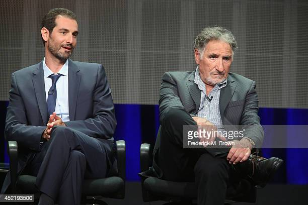 Executive producer Matt Miller and actor Judd Hirsch speak onstage at the 'Forever'' panel during the Disney/ABC Television Group portion of the 2014...