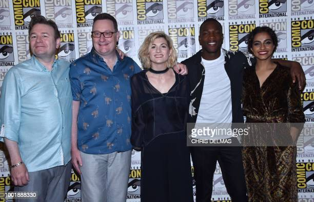 Executive producer Matt Strevens Executive producer Chris Chibnall actors Jodie Whittaker Tosin Cole and Mandip Gill arrive for the 'Doctor Who'...