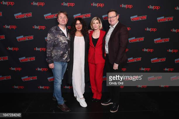 Executive Producer Matt Strevens President GM BBC America Sarah Barnett Jodie Whittaker and Showrunner Executive Producer Chris Chibnall attend BBC...