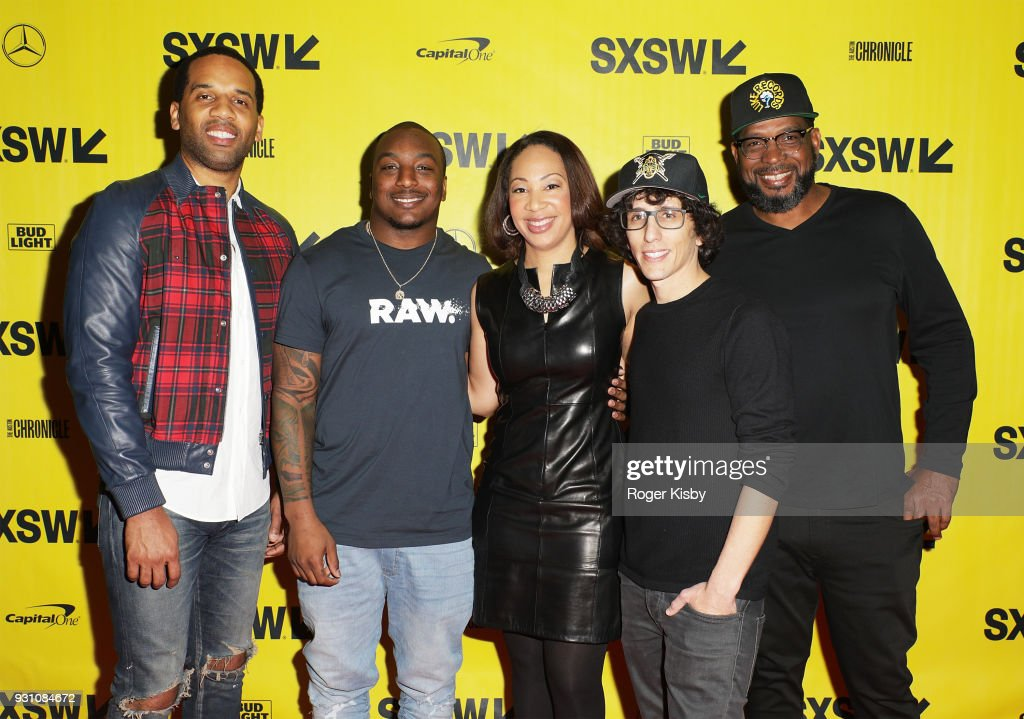 Executive Producer Maverick Carter, Cleveland Browns running back Duke Johnson, moderator Tiffany Greene, creator and showrunner Evan Rosenfeld and Founder of the Warrior Football program Luther Campbell attend the Starz panel for 'Warriors of Liberty City' which had its world premiere screening at The Vimeo Theater on March 12, 2018 in Austin, Texas.