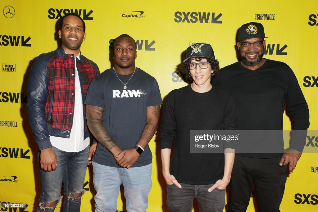 Executive Producer Maverick Carter, Cleveland Browns running back Duke Johnson, creator and showrunner Evan Rosenfeld and Founder of the Warrior Football program Luther Campbell attend the Starz panel for 'Warriors of Liberty City' which had its world premiere screening at The Vimeo Theater on March 12, 2018 in Austin, Texas.