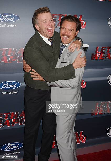 Executive producer McG and actor Clayne Crawford attend the premiere of Fox Network's 'Lethal Weapon' at NeueHouse Hollywood on September 12 2016 in...