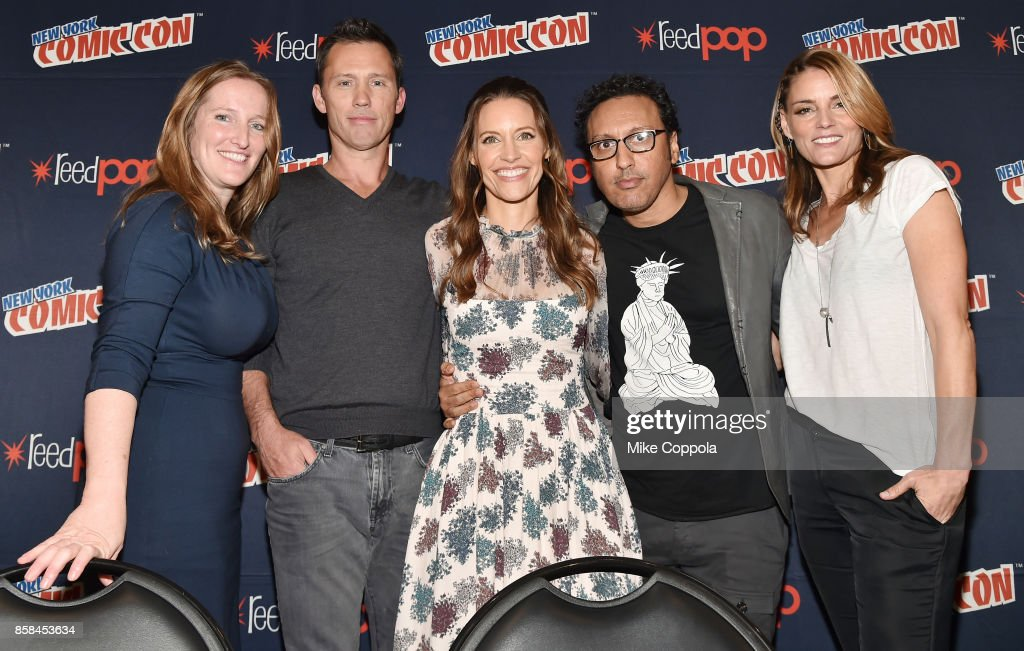 Executive Producer Melissa Bernstein and actors Jeffrey Donovan, KaDee Strickland, Aasif Mandvi, and Susan Misner pose onstage after Hulu's Shut Eye panel at New York Comic Con at Jacob Javits Center on October 6, 2017 in New York City.