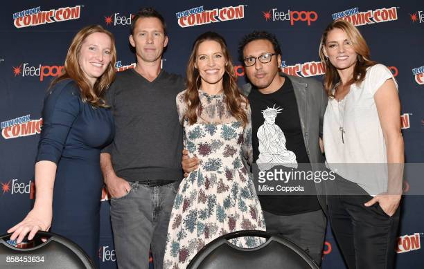 Executive Producer Melissa Bernstein and actors Jeffrey Donovan KaDee Strickland Aasif Mandvi and Susan Misner pose onstage after Hulu's Shut Eye...